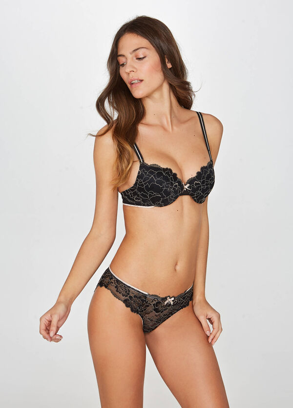 Embroidered stretch bra with underwire