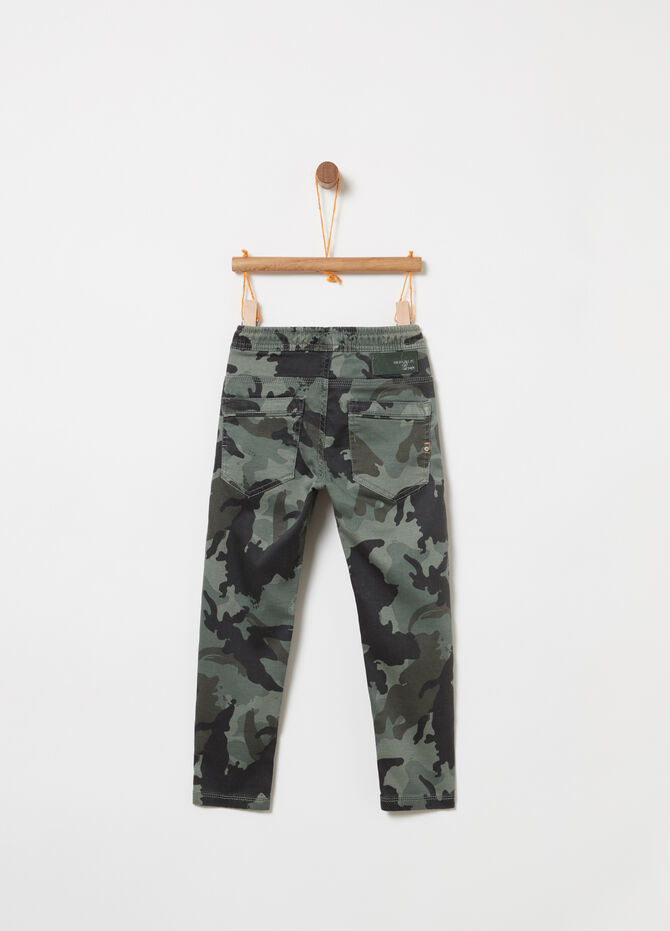 Stretch denim joggers with pattern