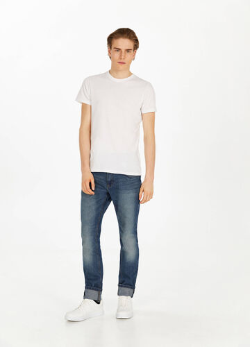 Jeans slim fit used con baffature