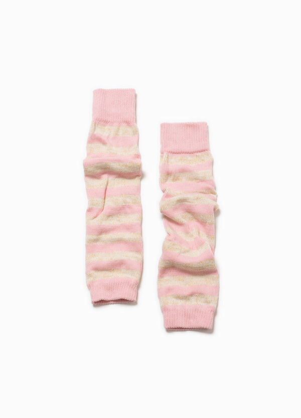 Cotton blend striped leg warmers