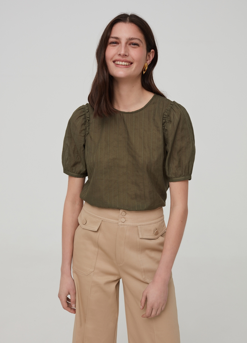 Cotton blouse with short sleeves image number null