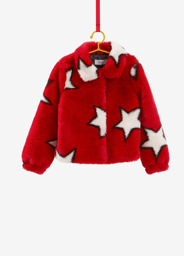 Faux fur jacket with star pattern