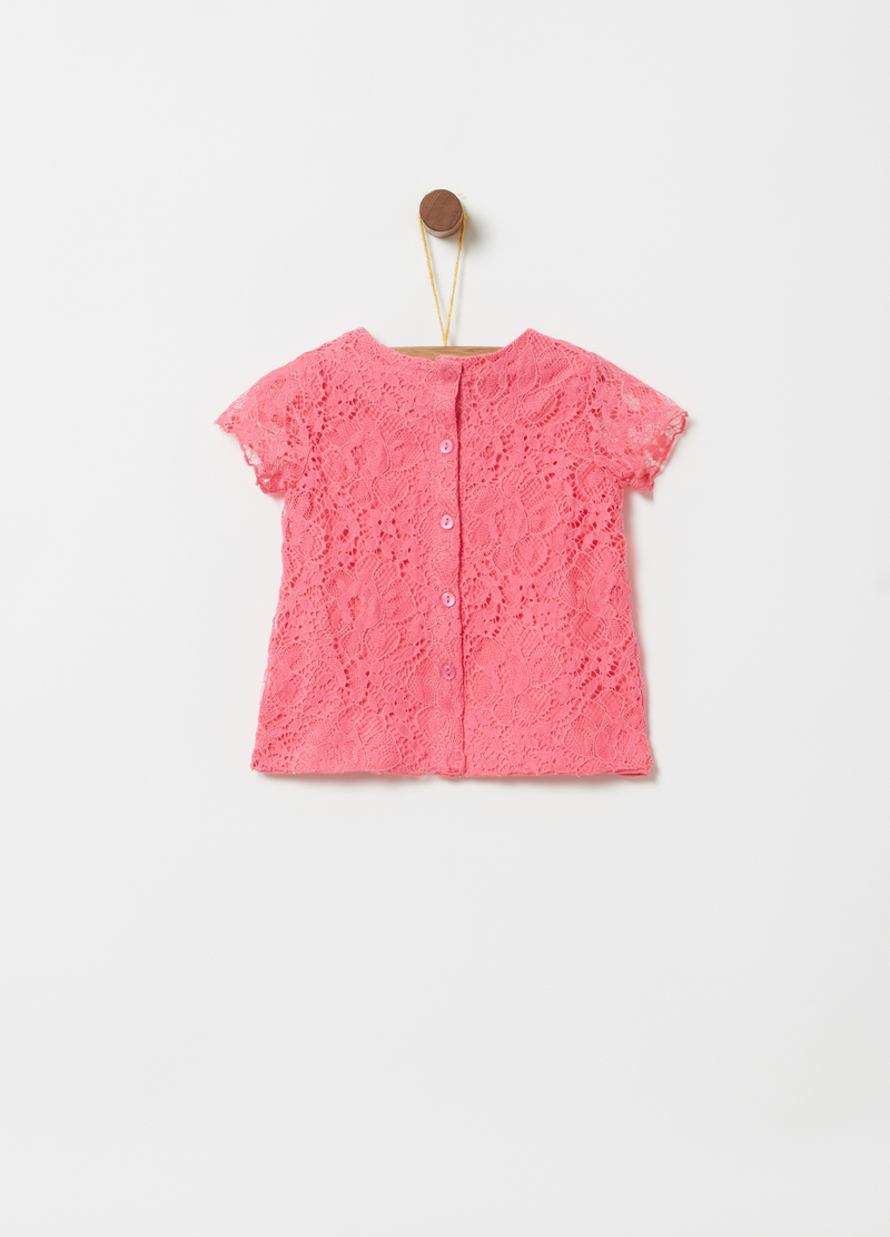 T-shirt in pizzo con fodera in jersey image number null