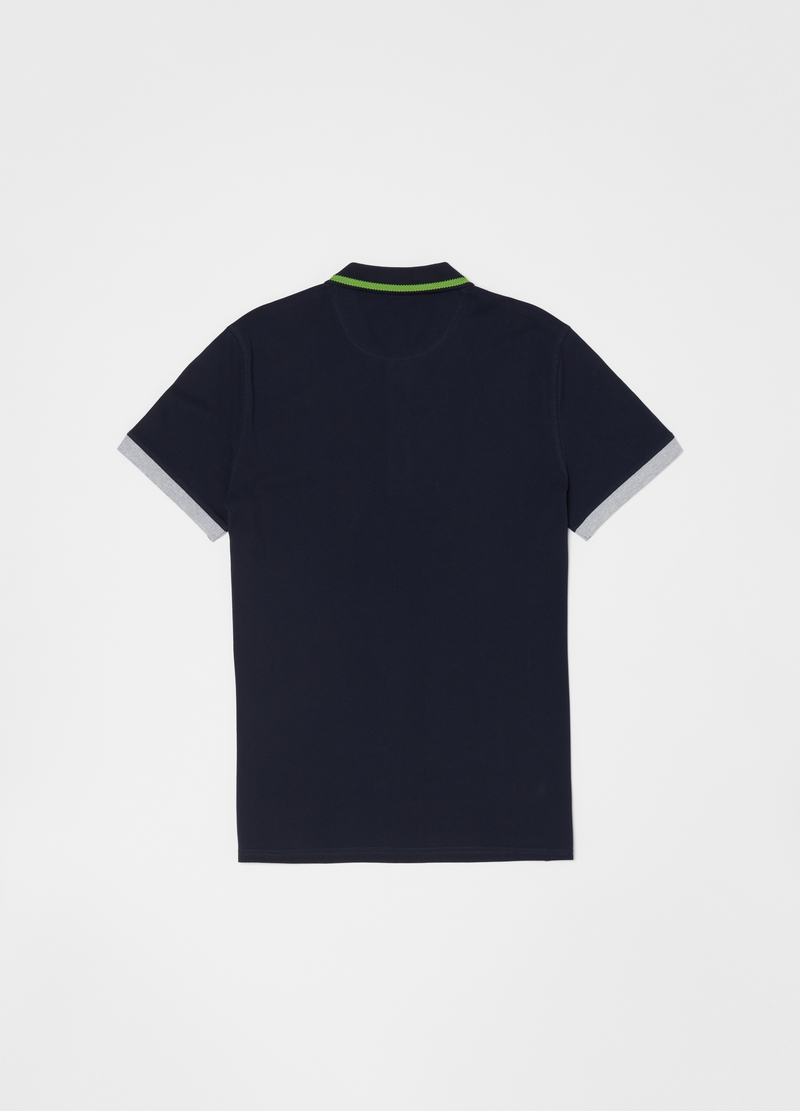 Polo shirt with contrasting sleeve end and collar image number null
