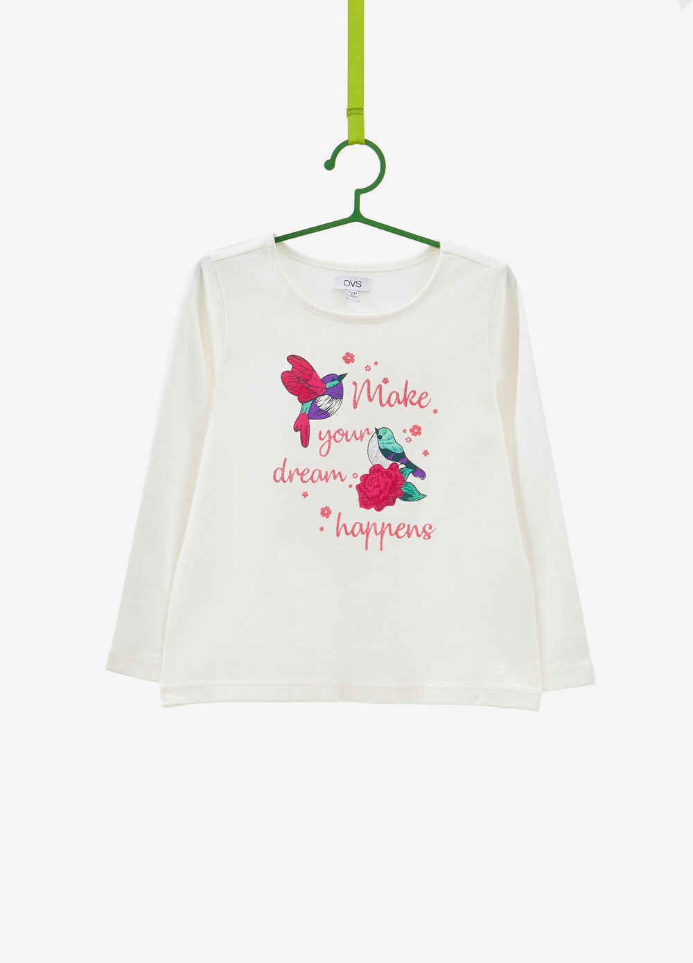T-shirt cotone stampa uccellini e lettering