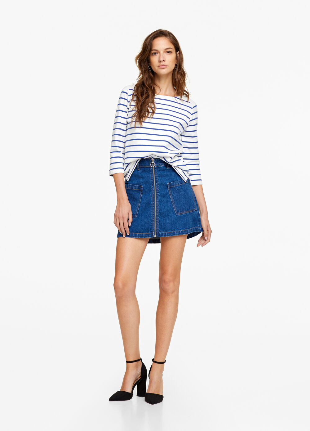 Long striped T-shirt in 100% cotton