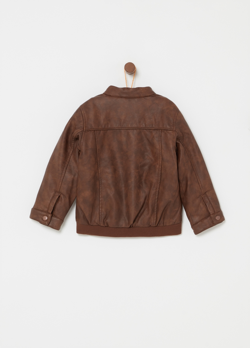 Leather-effect jacket with pockets and zip image number null