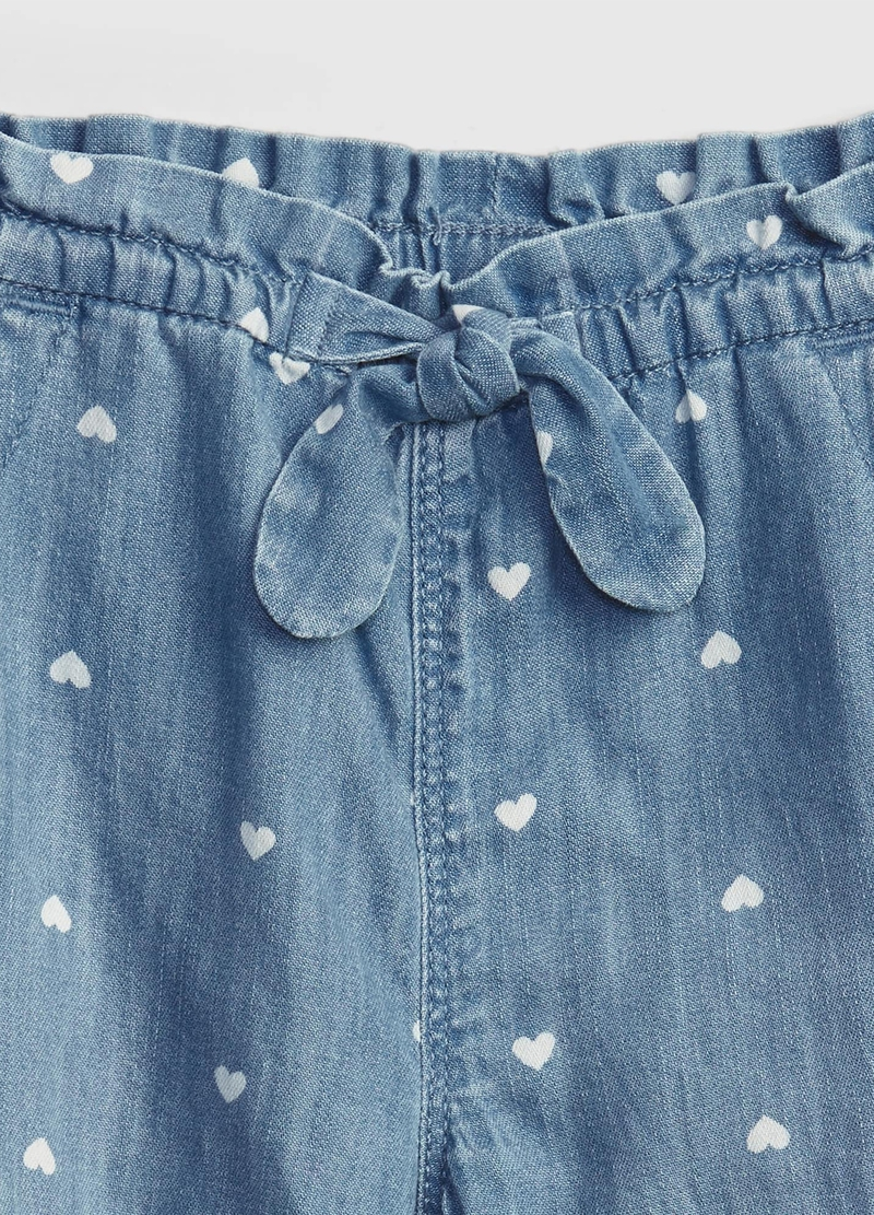 GAP denim joggers with small hearts print image number null