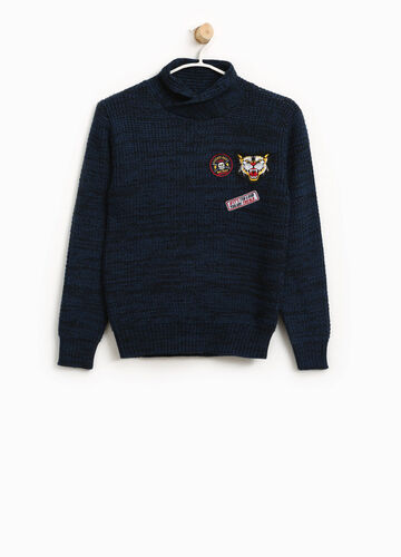 Knitted pullover with high neck and patches