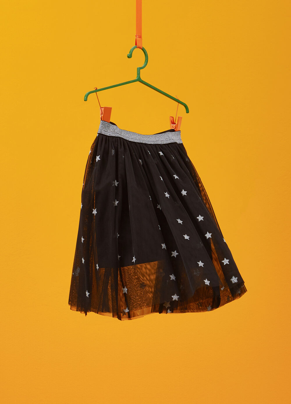 Tulle skirt with glitter star pattern