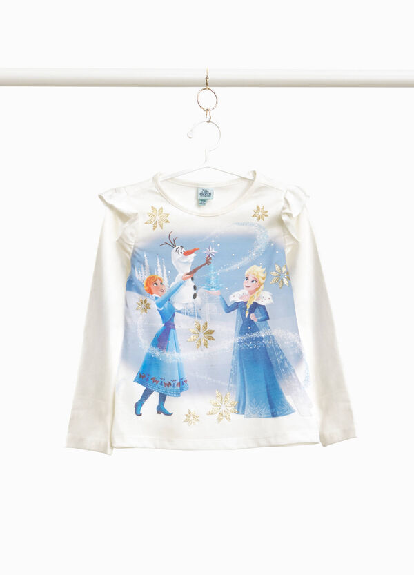 T-shirt cotone stretch con volant Frozen