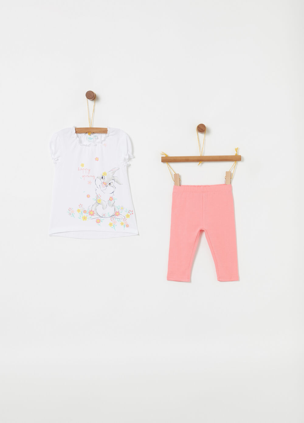 Jogging set con t-shirt Disney Baby glitter