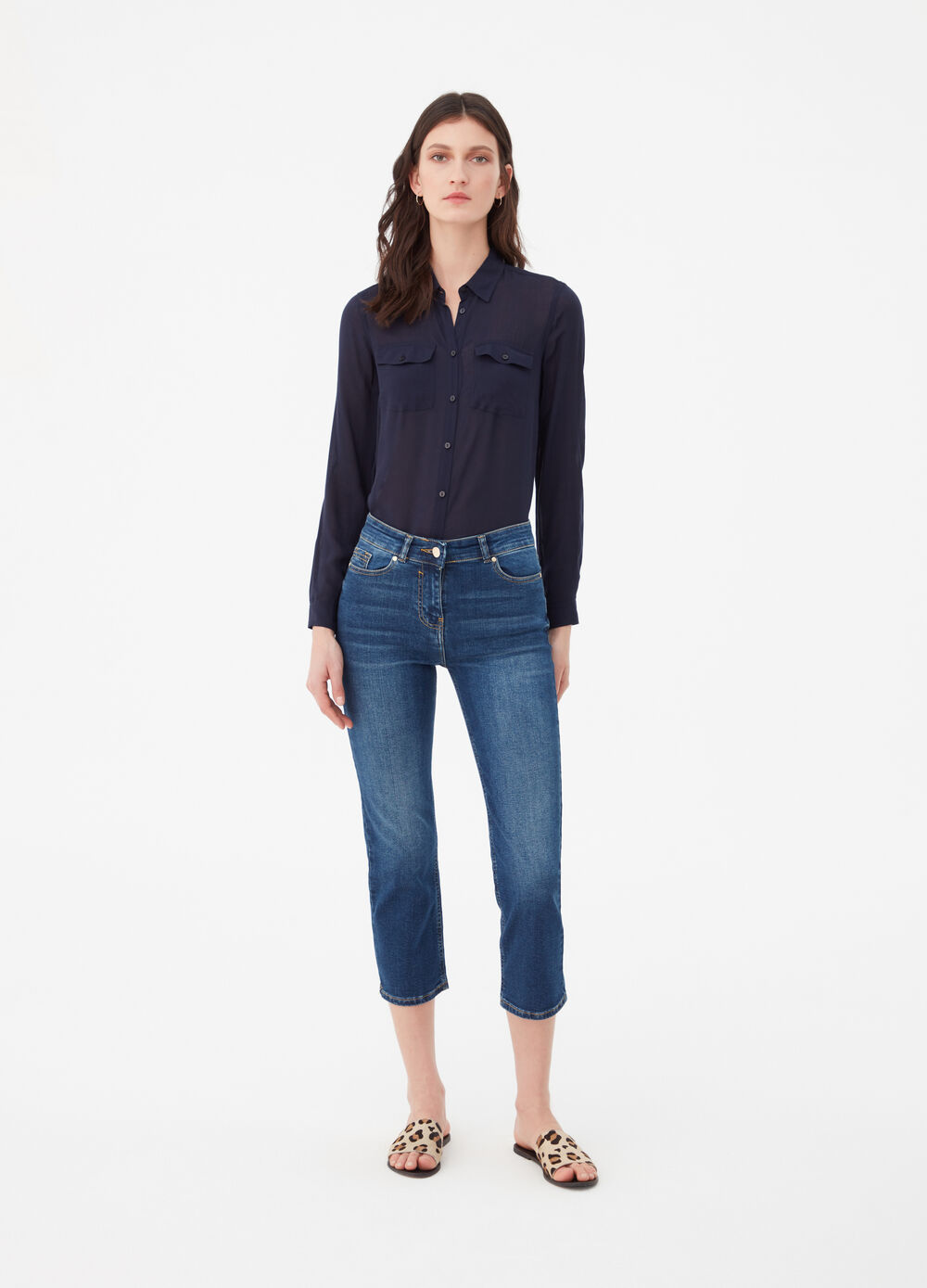 Washed-effect stretch straight fit cropped jeans