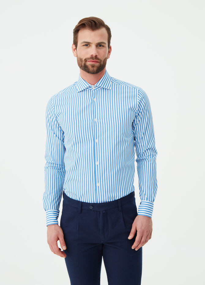 Slim-fit cotton poplin shirt with pattern