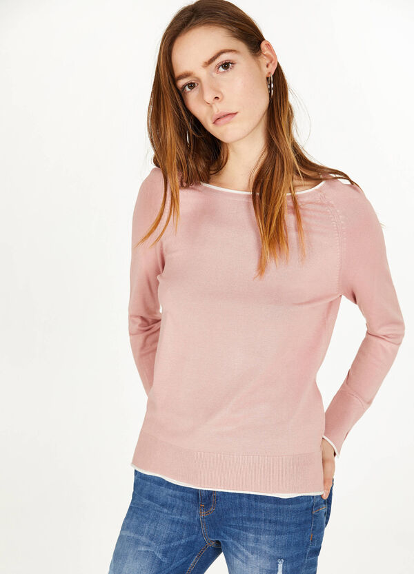 Viscose blend pullover with striped ribbing