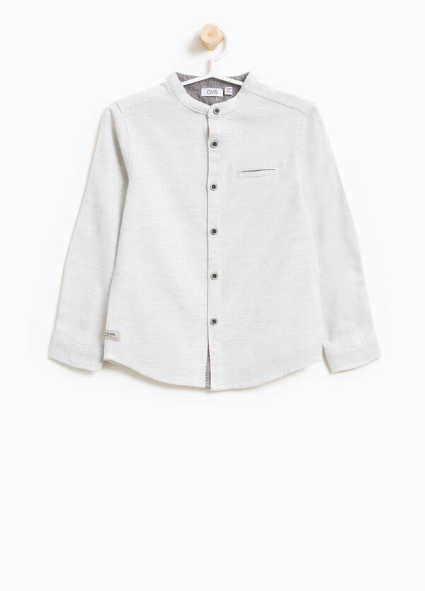 100% cotton shirt with mandarin collar | OVS