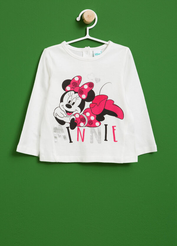 Cotton T-shirt with Minnie Mouse print and diamantés | OVS