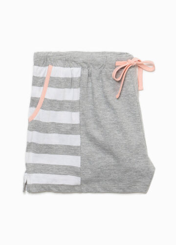 Striped pyjama shorts in cotton and viscose