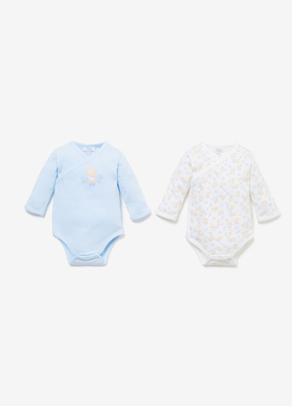 Twin-pack solid colour and patterned bodysuits