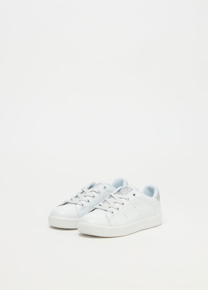 Sneakers with glitter openwork inserts