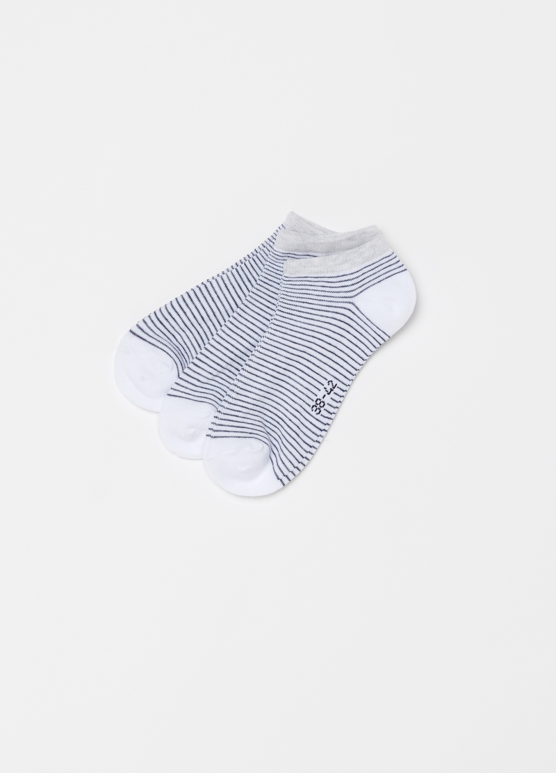 Three-pack short socks with striped pattern image number null