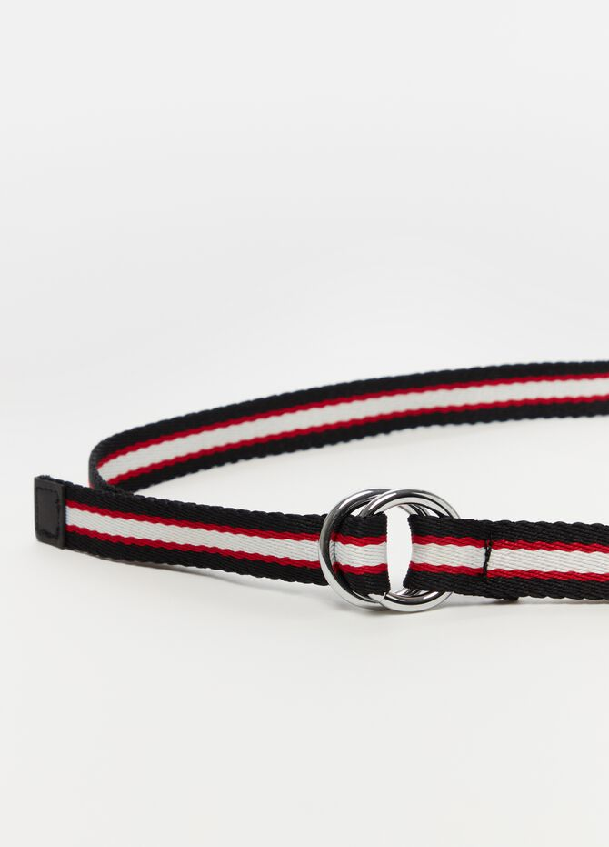 Belt with buckle and striped pattern