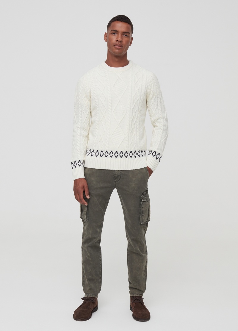 Knit pullover with geometric embroidery image number null