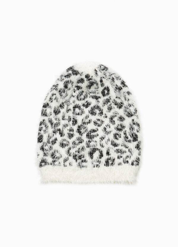 Frayed beanie cap with animal pattern
