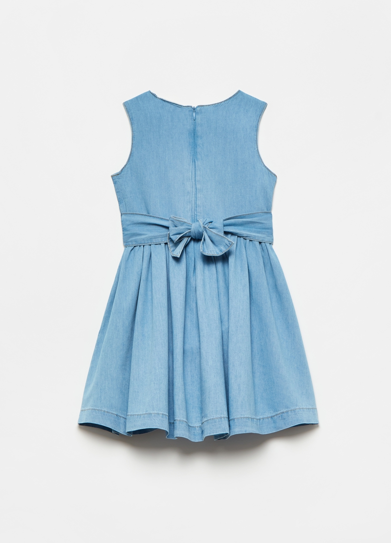 Denim dress with pleated skirt image number null