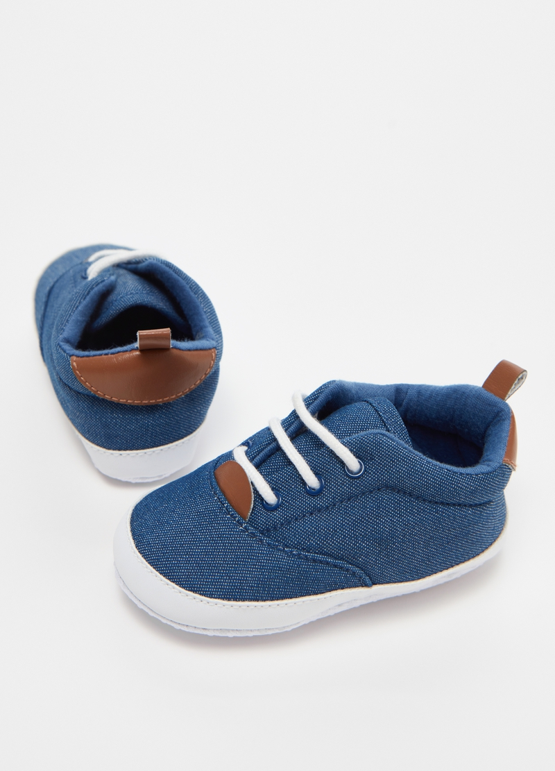 Denim-effect cotton shoes image number null