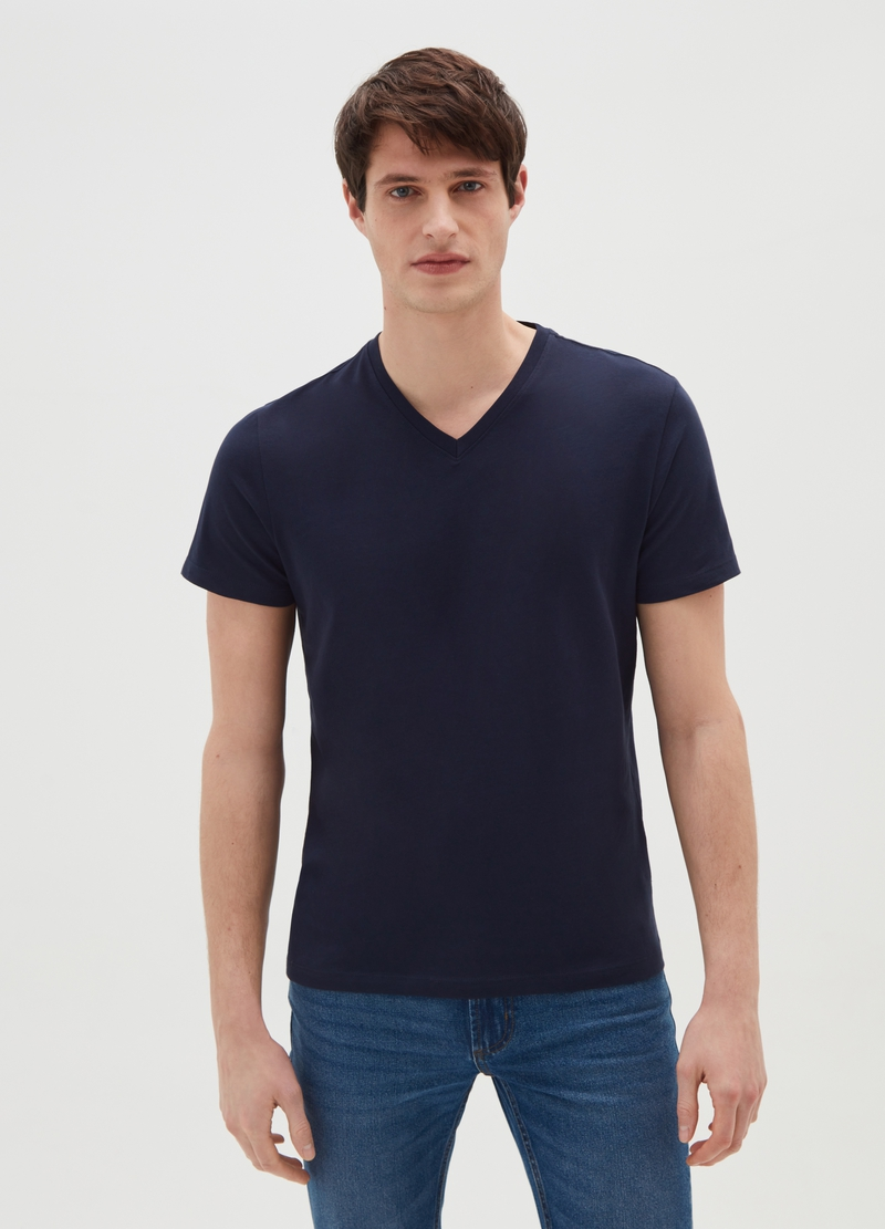 T-shirt in puro cotone scollo a V image number null