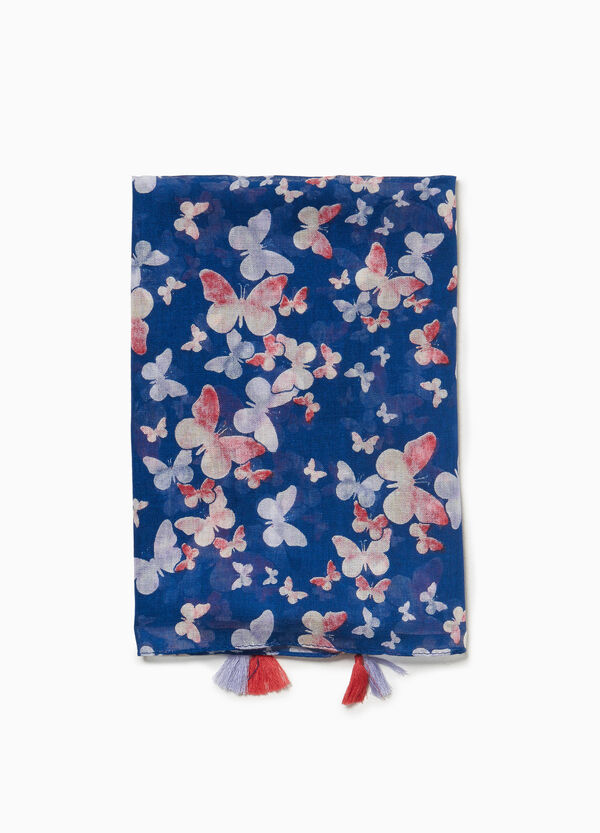 Patterned pashmina with butterflies and tassels