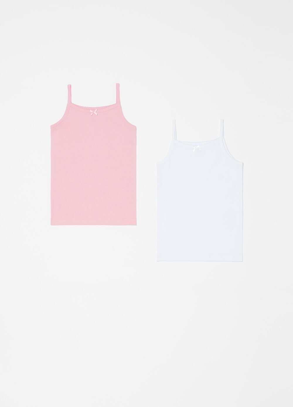 Set of two biocotton vests with bow