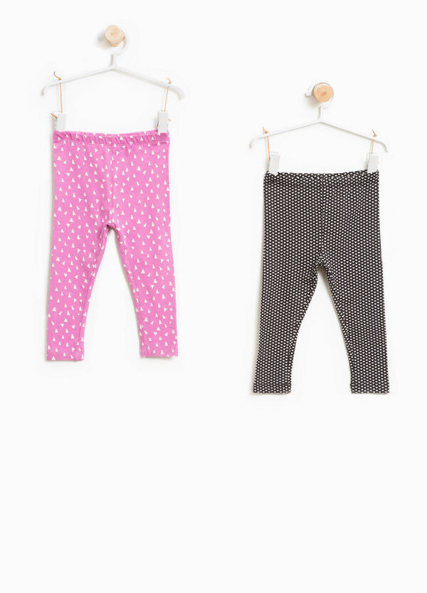 Two-pack patterned stretch cotton leggings | OVS