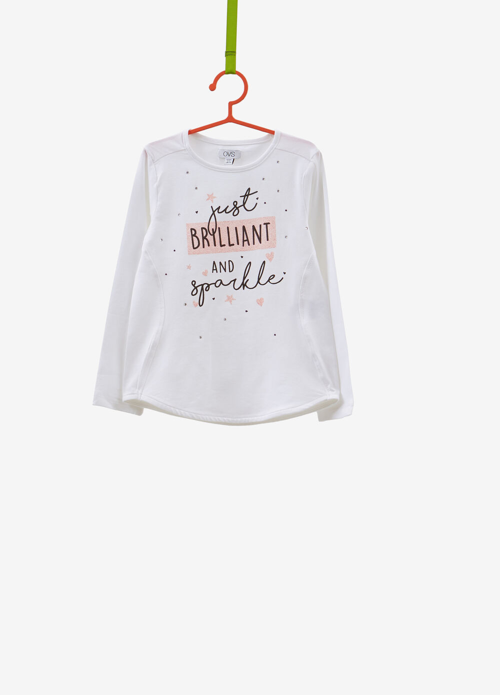 T-shirt cotone stretch stampa e strass