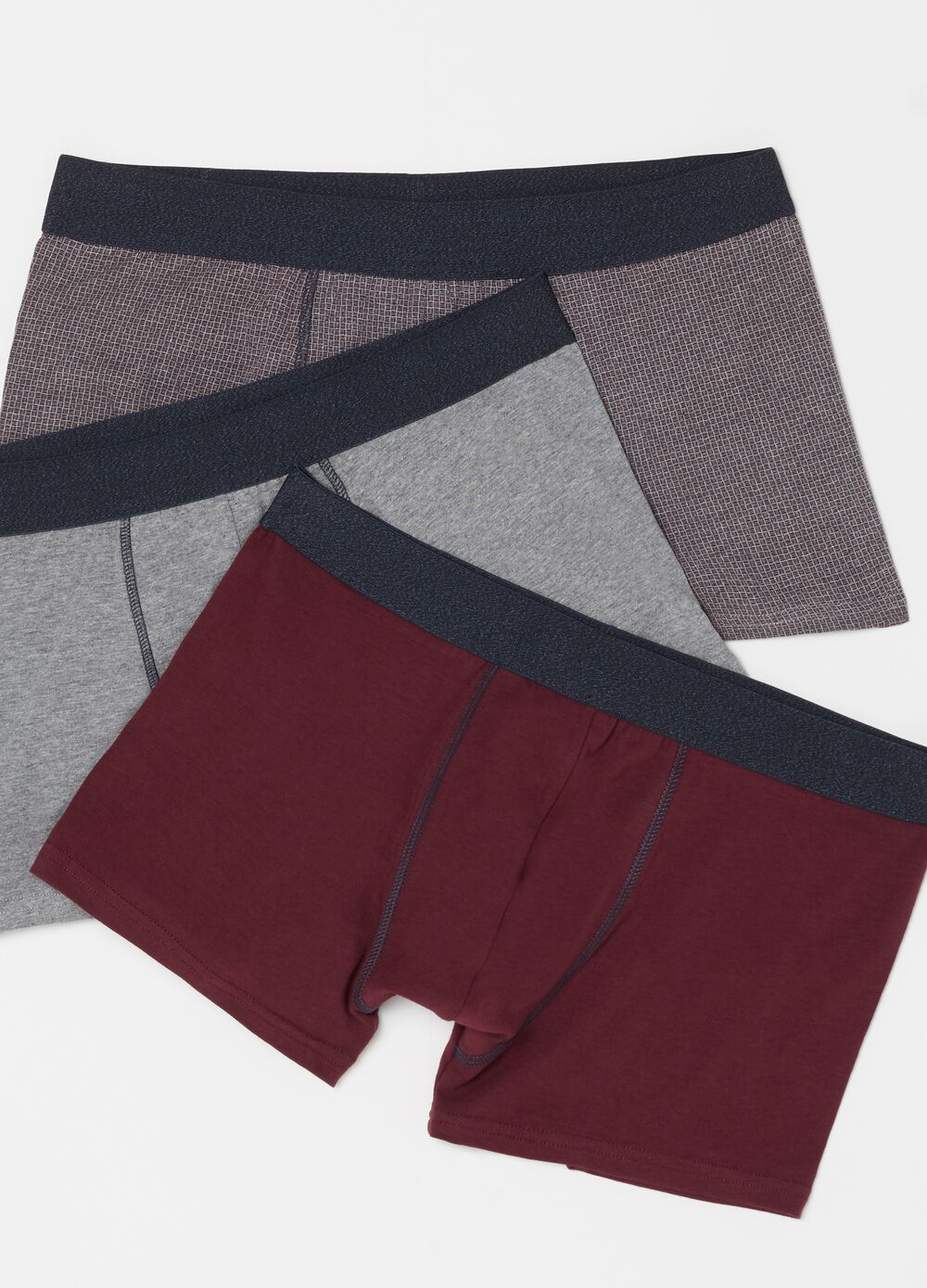 Three-pack patterned boxers in stretch cotton