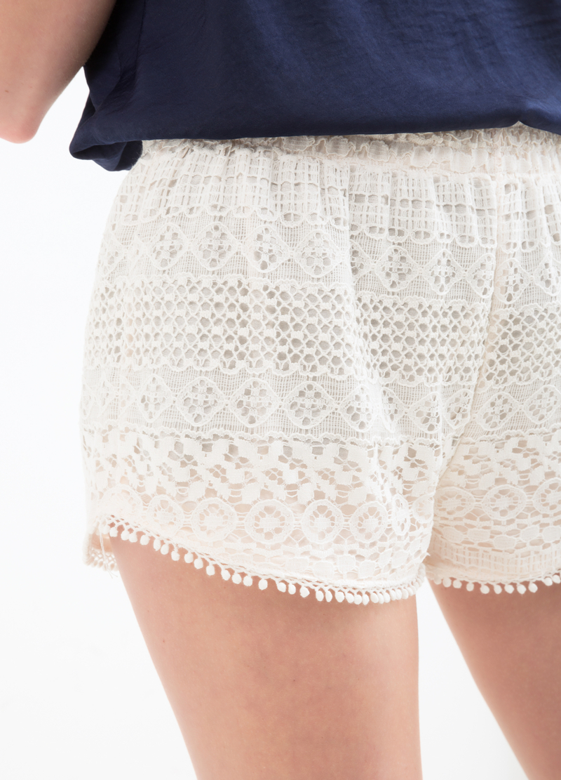 Solid colour lace shorts image number null