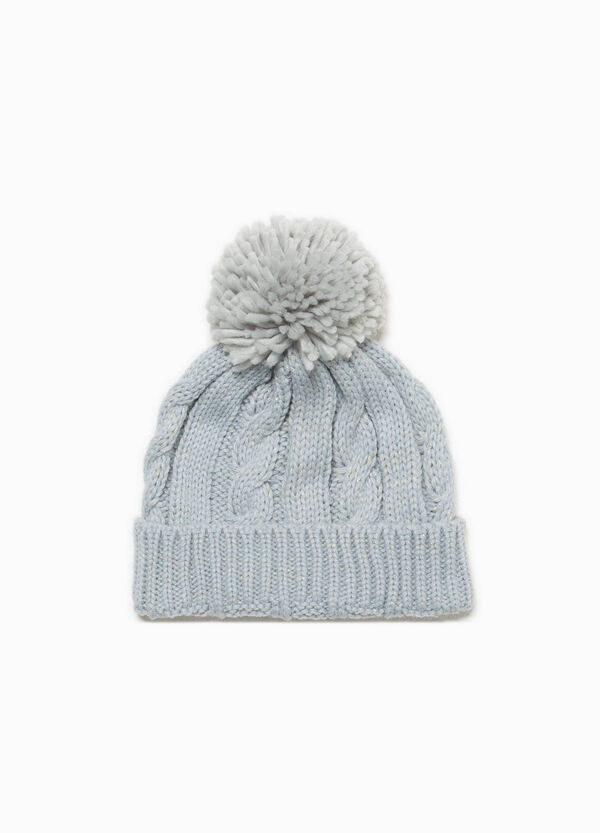 Knitted beanie cap with pompom