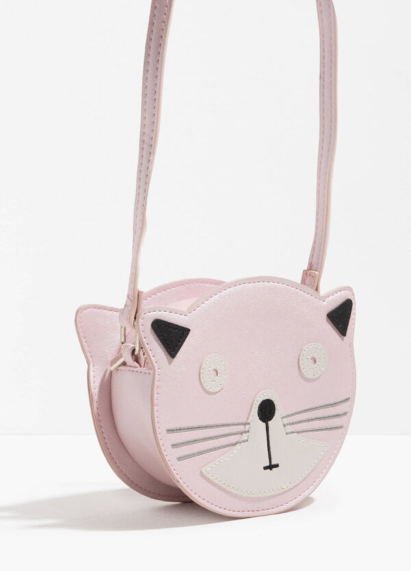 Kitten-shaped shoulder bag with patch | OVS