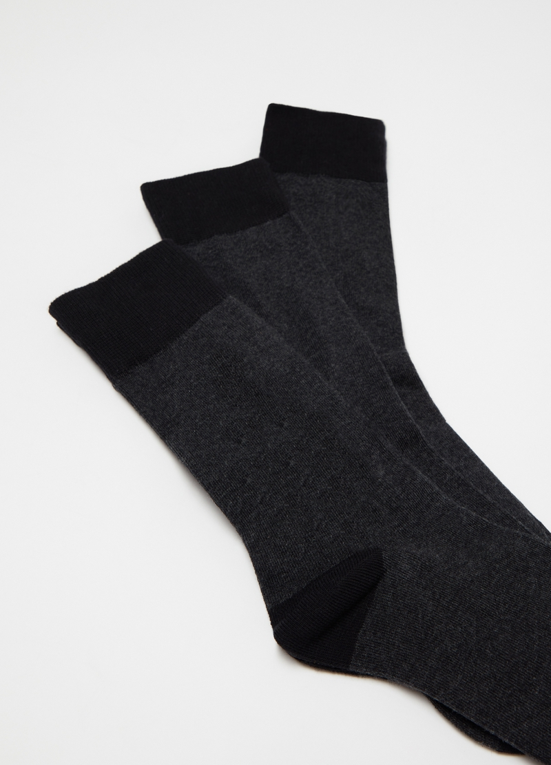 Three-pack solid colour stretch short socks image number null