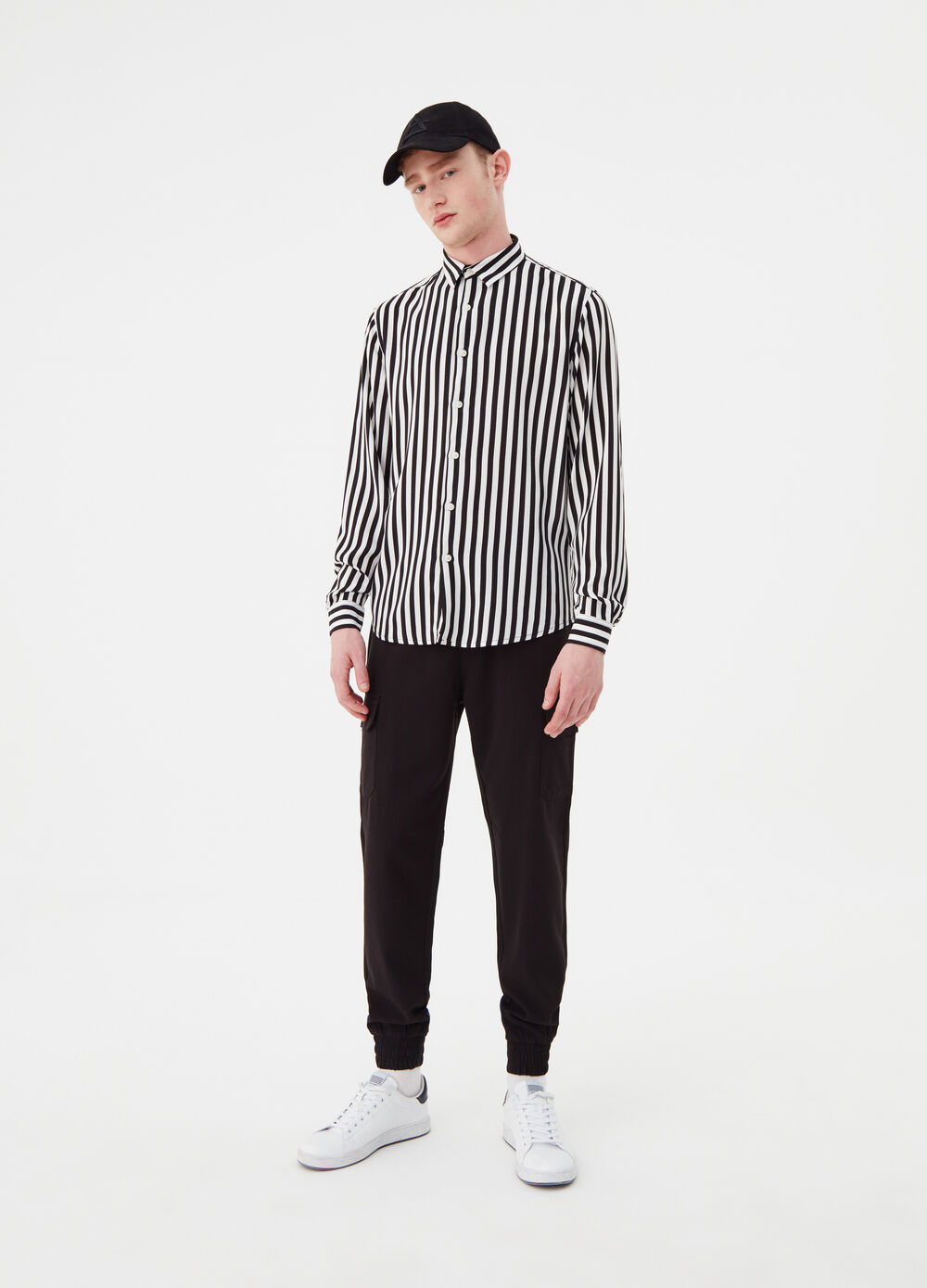 Casual shirt in striped viscose