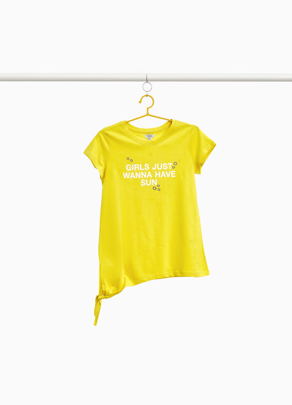 T-shirt with lettering print and eyelets