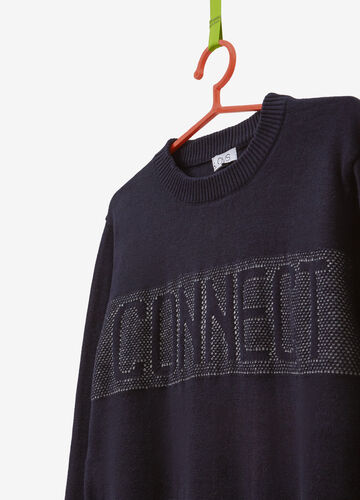 Pullover in 100% cotton with printed lettering