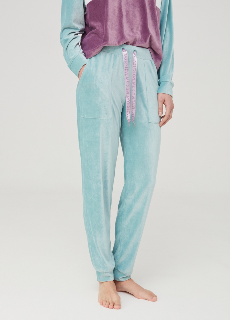 Stretch chenille pyjama trousers image number null
