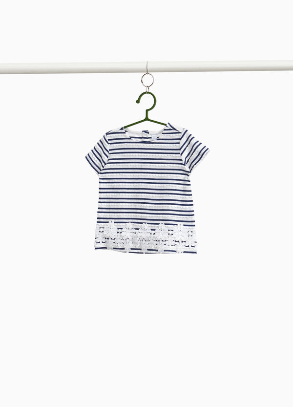 100% cotton T-shirt with striped lace inserts
