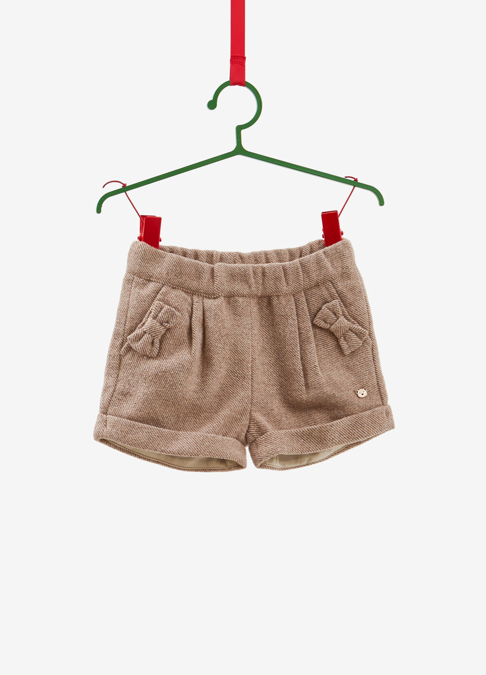 Shorts with lurex and bows with striped pattern