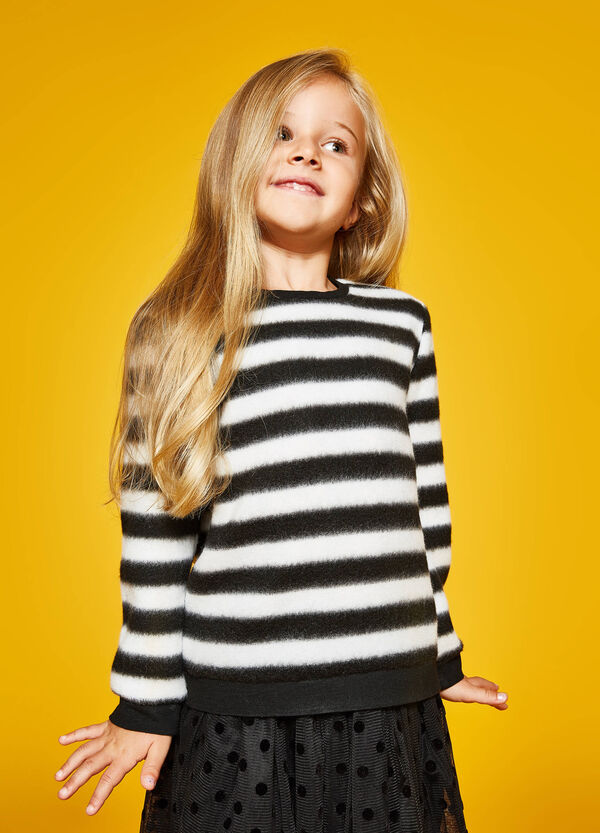 Striped patterned fleece sweatshirt | OVS