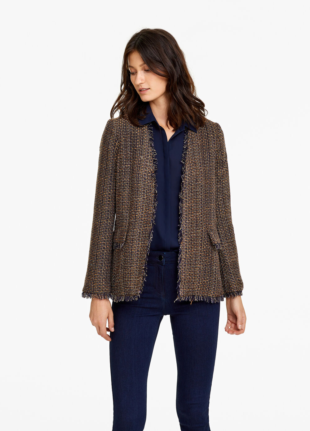 Blazer in tweed jacquard and pockets