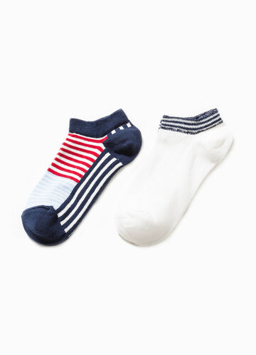 Two-pair pack solid colour and striped socks