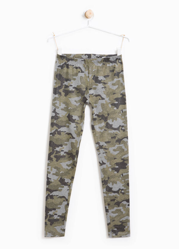 Stretch cotton camouflage leggings | OVS